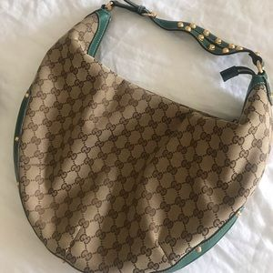 100%AUTHENTIC Gucci Green Leather Gold Studded Bag